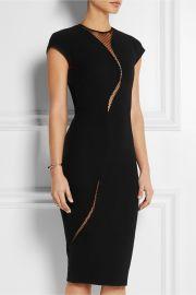 Victoria Beckham  Tulle-paneled silk and wool-blend dress at Net A Porter