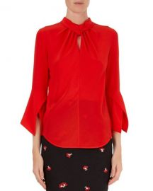 Victoria Beckham 3 4 Knotted Silk Blouse   Neiman Marcus at Neiman Marcus