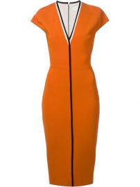 Victoria Beckham Contrast Trim V-neck Dress - at Farfetch