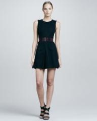 Victoria Beckham Denim Belted Center-Pleat Dress at Neiman Marcus