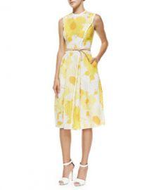 Victoria Beckham Floral Organza Jacquard Wrap Midi Dress at Neiman Marcus