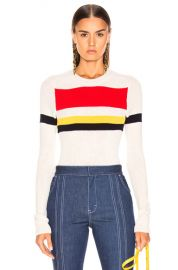 Victoria Beckham Long Sleeve Stripe Top in Vanilla   Bright Red Multi   FWRD at Forward