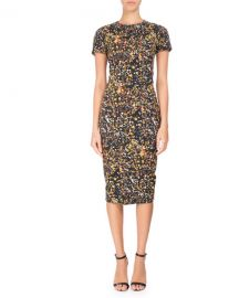 Victoria Beckham Marble-Print Short-Sleeve T-Shirt Dress  Black at Neiman Marcus