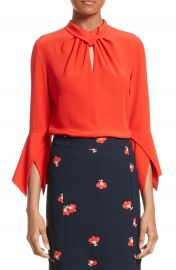 Victoria Beckham Twisted Silk Bell Sleeve Blouse at Nordstrom