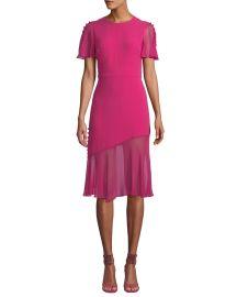 Victoria Fluttered Sheer-Sleeve Midi Dress at Bergdorf Goodman