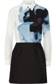 Victoria Victoria BeckhamandnbspandnbspPrinted silk crepe de chine and jacquard mini dress at Net A Porter