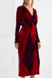 Victoria two-tone velvet wrap midi dress at Net A Porter