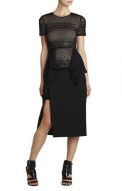 Viktoria Mixed Knit Peplum Top at Bcbg