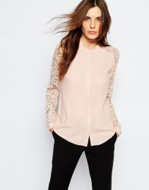 Vila  Vila Lace Insert Blouse at Asos