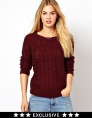 Vila  Vila Swirl Cable Knit Sweater at Asos