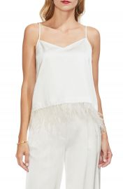 Vince Camuto Soft Satin Feather Detail Chiffon Camisole at Nordstrom