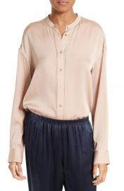 Vince Pintuck Placket Stretch Silk Blouse at Nordstrom
