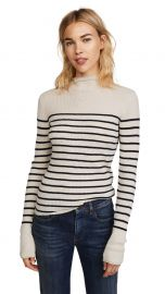 Vince Striped Roll Edge Mock Pullover at Shopbop