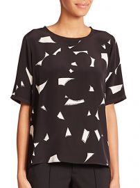 Vince - Geometric-Print Silk Tee at Saks Fifth Avenue