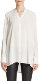 Vince - Silk V-Neck Blouse in White at Saks Off 5th