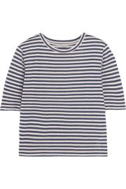 Vince   Striped silk-blend jersey T-shirt at Net A Porter