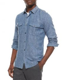 Vince Brushed Twill Long-Sleeve Denim Shirt Indigo at Neiman Marcus