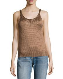 Vince Cable-Knit Silk Crop Tank Top at Neiman Marcus