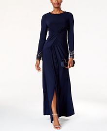 Vince Camuto Beaded Draped Gown at Macys