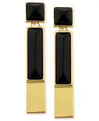 Vince Camuto Earrings Gold-Tone Black Onyx Rectangle Linear Drop Earrings - Fashion Jewelry - Jewelry and Watches - Macys at Macys