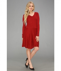 Vince Camuto Fit andamp Flare Sweater Dress Biking Red at 6pm