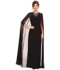 Vince Camuto Fitted Crepe Gown w Chiffon Cape Black at Zappos