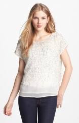 Vince Camuto Flower Fields Short Sleeve Sequin Blouse at Nordstrom