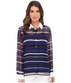Vince Camuto Long Sleeve Zen Multi Stripe Blouse Vivid Indigo at 6pm