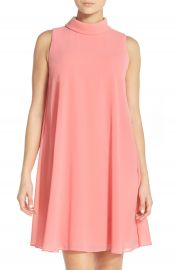 Vince Camuto Mock Neck Chiffon Trapeze Dress at Nordstrom