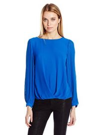 Vince Camuto Pleated Sleeve Fold Over Blouse at Amazon