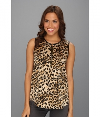 Vince Camuto Pleather Trim Leopard Shell Rich Black at 6pm