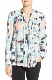 Vince Camuto Print Pleat Front Split Neck Blouse  Regular   Petite at Nordstrom
