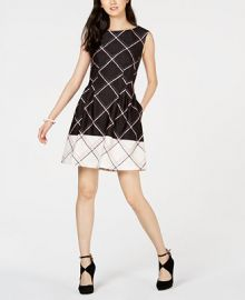Vince Camuto Printed Fit   Flare Dress Women -  Dresses - Macy s at Macys