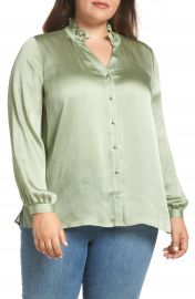 Vince Camuto Ruffle Neck Blouse  Plus Size    Nordstrom at Nordstrom