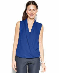 Vince Camuto Sleeveless Draped Top Blue at Macys