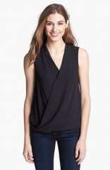 Vince Camuto Sleeveless Faux Wrap Top at Nordstrom