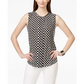 Vince Camuto Sleeveless Front-Pleat Blouse in Polka Dot at Macys