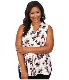 Vince Camuto Specialty Size Plus Size Sleeveless Leaf Trio Invert Pleat V-Neck Blouse Flora Pink at 6pm