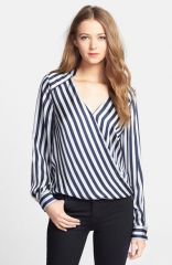 Vince Camuto Stripe Wrap Front Blouse at Nordstrom