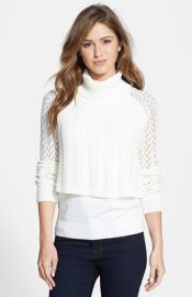 Vince Camuto Tiered Cable Turtleneck Sweater at Nordstrom
