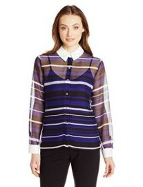 Vince Camuto Women  39 s Long-Sleeve Zen Multi-Stripe Blouse at Amazon