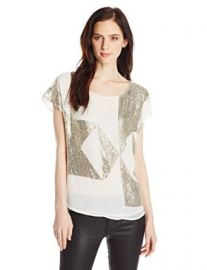 Vince Camuto Womenand39s Geometric Sequin Embellished Blouse at Amazon