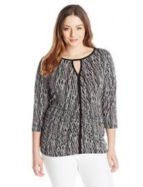 Vince Camuto Womenand39s Plus-Size 34 Sleeve Linear Scratches Keyhole Top at Amazon