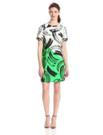 Vince Camuto Womenand39s Short Sleeve Artful Strokes Shift Dress at Amazon