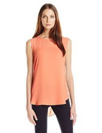 Vince Camuto Womenand39s Sleeveless Blouse with Chiffon Yoke at Amazon