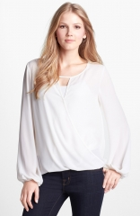Vince Camuto Wrap Front Blouse in ivory at Nordstrom