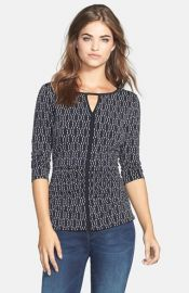 Vince Camuto and39Oval Dashesand39 Print Keyhole Top at Nordstrom