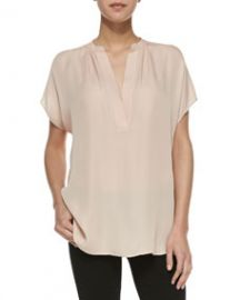 Vince Cap-Sleeve Popover Blouse Salmon at Neiman Marcus