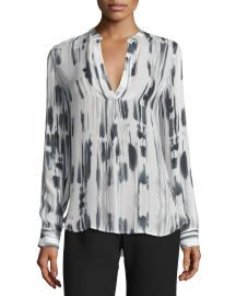 Vince Cascade-Print Split-Neck Silk Top at Neiman Marcus