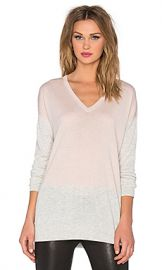 Vince Colorblock Easy Fit V-Neck Sweater in New Buff and Heather Cloud at Revolve